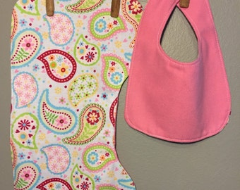 Reversible Baby Girl Gift Set Bib, Burp Cloth