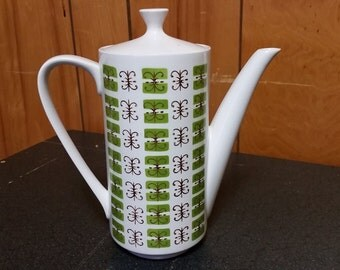 Mid-Century Mikasa Cera Stone Elmida Green and White Tea or Coffee Pot - 3115 - Made in Japan