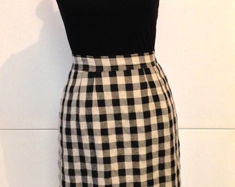 Vintage 80s/90s pencil skirt, black/taupe check high waist preppy indie hipster rockabilly made in Australia