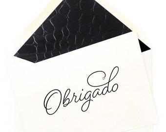 Portuguese Thank You Notecard with Crystal Embellishments - Obrigado/Obrigada (4 bar size)