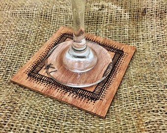 Wooden Pyrography Coasters (Set of 4)