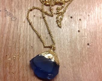 Royal Blue Glass Gold-Foil Necklace