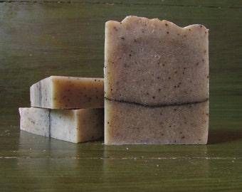 Peppermint Latte Rustic Soap, Exfoliating Soap, Coffee Soap, Natural Soap, Peppermint Essential Oil Soap