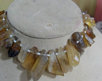 1 Strand Bio Lemon Quartz  Natural crystal shapes beads 8'' 78. grams 9X16 11X36 MM