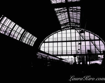 Black and White photo Amsterdam Centraal Station photography Train Station photography Amsterdam Art