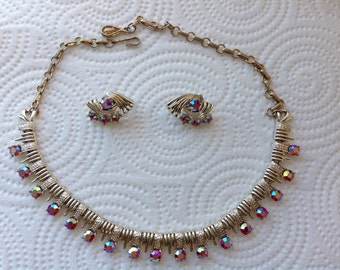 Vintage Coro necklace and earring set with Princess cut AB rhinestones set on silver tone metal