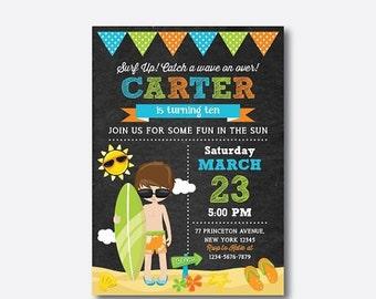 Surfer Birthday Invitation, Surfer Invitation, Surfer Party Invitation, Surfer Boy Birthday Invitation, Personalized, Chalkboard (CKB.390)