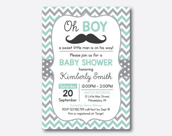 Mustache Baby Shower Invitation, Mustache Invitation, Little Man, Boy Baby Shower, Mint Gray Chevron, Baby Sprinkle, Personalized (SBS.30)