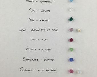 Birthstone Charm, Personalized Birthstone, Custom Jewelry, Swarovski Birthstone, Mothers Necklace, Birthday, Anniversary, Gift Jewelry