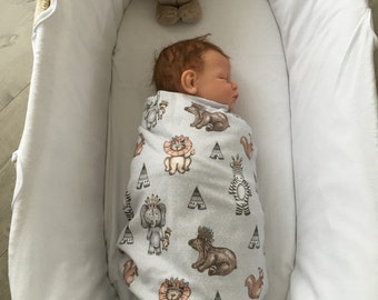 Baby Flannel Wrap - Tribal Animals
