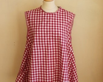 BALANCES top blouse cut trapeze in cotton gingham sleeveless