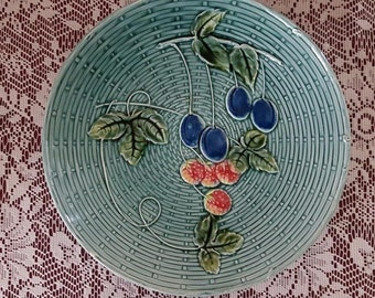 GZS Baden GERMANY MAJOLICA Plate Plums and Raspberries