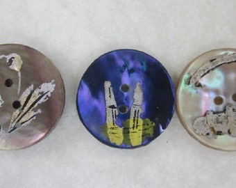 Hand Painted Abalone Shell buttons.  Blue Dyed Pearl Button.  Silver Paint Pictorial Pearl Buttons.  OneWomanRepurposed B 420