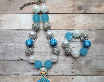 Elsa Chunky Necklace, Toddler Necklace, Baby Necklace, Infant Necklace, Newborn Necklace, Baby Props