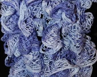 "CIJ SALE Sundance Frill Crochet Ruffled Boa Scarf in ""Lavender Fields"".   Handmade  ET 9092005"
