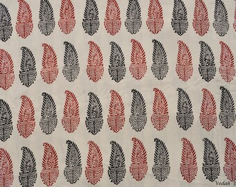 Dual color paisley hand block print cotton with border fabric by the yard
