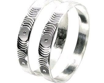 "Karizmatic 925 Sterling Silver Bangles Bracelet (Kangan) - Pair 2.5"""