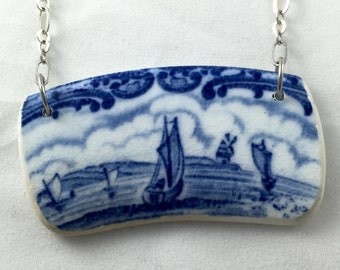 Broken china jewelry -  blue and white sail boats - upcycled antique dishes