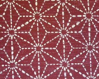 Asanoha. Hemp Leaf Pattern. Red. Japanese fabric. Japanese cotton fabric. Fabric by half yard or half meter