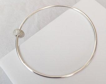 Sea Urchin Bangle - silver