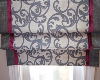 "Flat Roman Shade ""Elgin Imperial"" with border and chain mechanism - Custom Made"