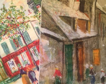 Two Maurice Utrillo handkerchiefs by Kreier 1963 Montmantre France Le Moulin Rouge