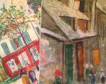Two Maurice Utrillo handkerchiefs by Kreier 1963 Montmantre France Le Moulin Rouge