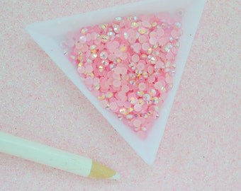 3mm Pink AB Jelly Iridescent Rhinestone Flatback Resin Decoden Cabochon - 200 piece set
