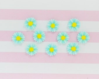 11mm Kawaii Aqua Blue Daisy Decoden Cabochons - 10 piece set