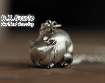 Handmade 3D Silver Cat Pendant, Silver Lovely Cat Pendant, Anniversary, Birthday, Wedding, Christmas, Gift
