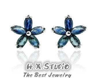 Blue Sapphire Flower Sterling Silver Earrings, Silver Sapphire Earrings Studs, Wholesale Available