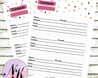 Planner Contacts Addresses Insert, The Happy Planner, Planner Insert, Address book, MAMBI Paperback Notebook, Arc Planner, Me & My Be Ideas