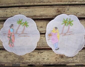 2 Hand Embroidered Vintage Doilies - Indian Ladies - Sari