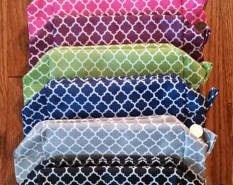 Quatrefoil Cosmetic Bag - BLANK - DIY - Purple & Navy ONLY