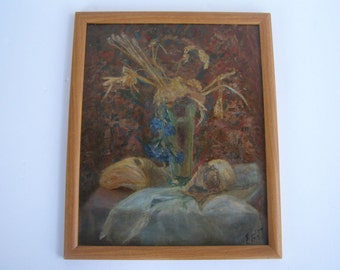 marvelous still life oil on board painting - signed