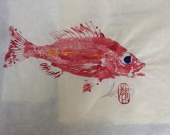 Rose snapper/gyotaku/fish rubbings/coastal living art/gift ideas/for fishermen/fish paintings/rustic beach decor/gifts for fishermen/ #C26