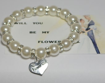 flower girl bracelet - will you be my flower girl gift - 7 1/2 INCHES AROUND - flower girl jewelry - junior bridesmaid - handmade bracelet