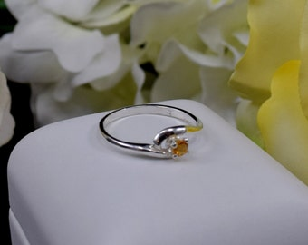 November Birthstone Ring!  Stackable. 3mm, Round, Faceted, Natural Grade AA Yellow-Orange Citrine Ring.  US Sizes 4-7.  Case and Gift Box.