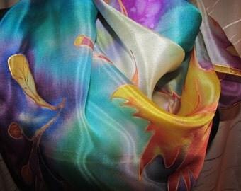 Hand painted  silk shawl. 35 x 35 inc. Batik. Роспись вручную натурального шелкового платка 90 х 90 см. Батик