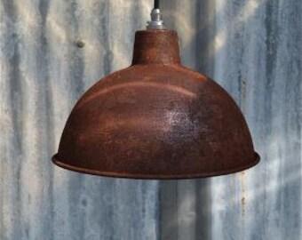 Rusty steel vintage style barn light workshop ceiling lamp pendant shade RS2SR4