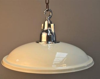 Fantastic large cream UFO ceiling light with polished aluminium lamp SHB22