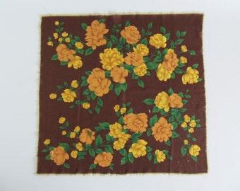 30s Vintage Scarf • 30s Vintage Shawl • Floral Scarf • Brown Floral Scarf • Brown Scarf • Brown Floral Shawl • Square Shawl • Bandana
