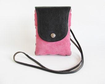 Vintage • Crossbody Bag • Pink Suede Bag • Pink Crossbody Bag • Suede Crossbody Bag • Pink Suede and Leather Messenger Bag • Hippie • Boho