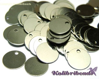 10x Round Brass Stamping Blanks Disc Charms 10 mm - Platinum