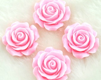 The roses charm--- Beautiful Resin Flower Charm Tender pink roses ---28mm ---H0027