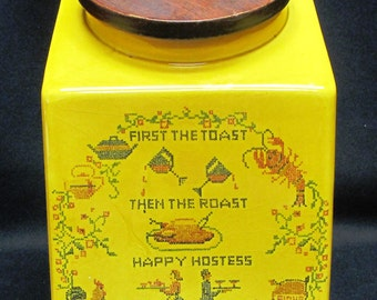 Vintage Hyalyn Happy Host Cannister Yellow with Wood Lid MINT