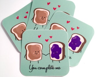 PBJ couple Cute Vinyl Sticker-  Peanut Butter and Jelly Sandwich Love You Complete Me
