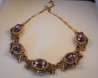 Vintage Hobe Amethyst Rhinestone Faux Seed Pearl Necklace