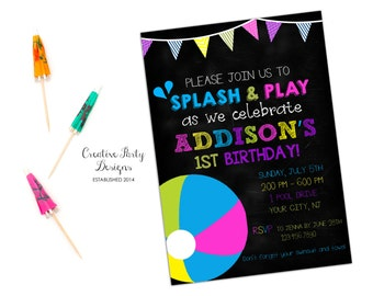 Pool Party Invitation - Pool Party First Birthday Invitation - Pool Party Themed Invite - First Birthday - 1st Birthday Pool Invitation