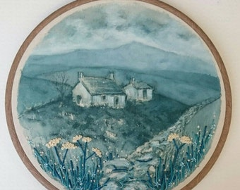 The Twilight Cottages - Hand Painted & Stitched Embroidery Hoop Artwork